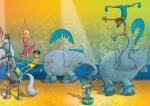 kids book illustration circus elephants