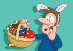 cartoon illustration dad at Easter