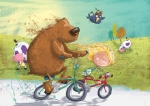 children\'s book illustration bear on bike