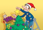 cartoon illustration dad at Christmas
