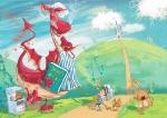 children\'s book illustration dragon cook