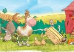 children\'s illustration farm animals searching