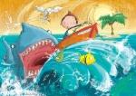children\'s book illustration shark chasing boy